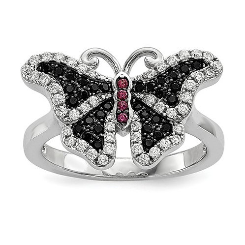 Sterling Silver And CZ Brilliant Embers Butterfly Ring