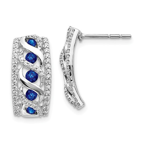 14k White Gold Diamond And Sapphire Fancy Earrings