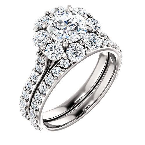 14K White 6.5mm Round Halo-Style Engagement Ring Semi-Set Mounting