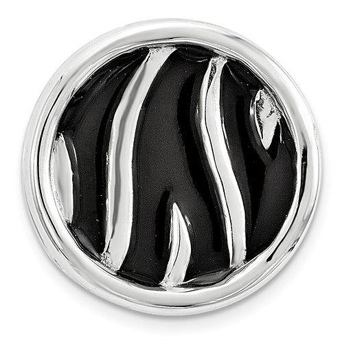 Sterling Silver Stackable Expressions Sm Blk Enameled Zebra Print Chain Slide