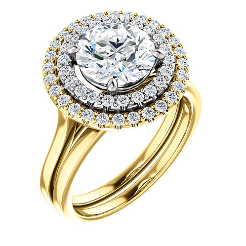 14K Yellow & White 8mm Round Engagement Ring Semi-Set Mounting
