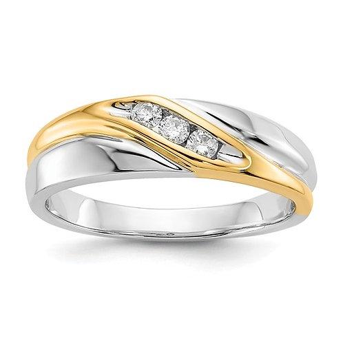 14k Two-Tone Diamond Mens Ring
