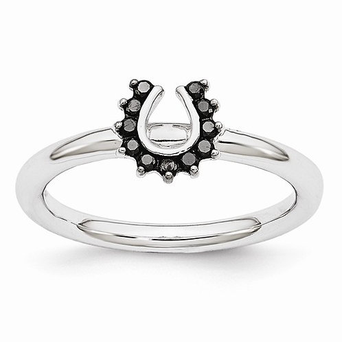 Sterling Silver Stackable Expressions Rhodium Black Dia. Horseshoe Ring