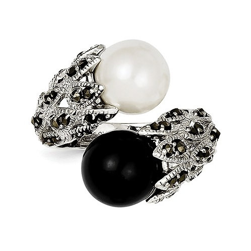 Sterling Silver Marcasite Black And White FW Cultured Pearl Ring