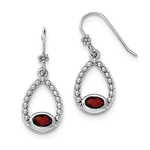 Sterling Silver Rhodium-Plated Garnet Shepherd Hook Dangle Earrings