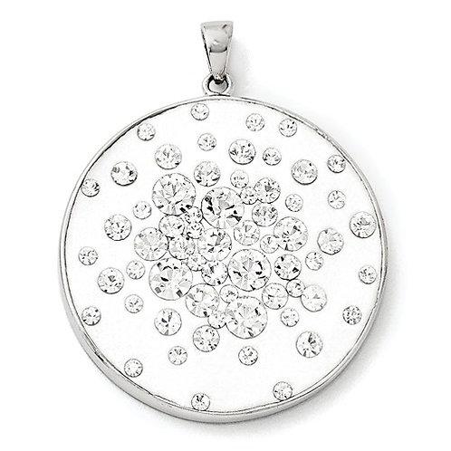 Sterling Silver Rhodium White Clay And Preciosa Crystal Round Pendant