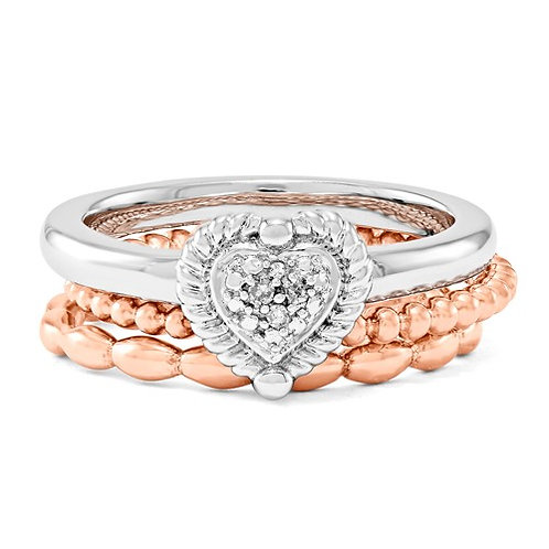 Sterling Silver Stackable Expressions Take My Heart Ring Set