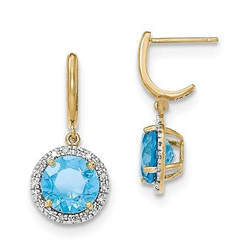 14k Lt. Swiss Blue Topaz With Diamond Halo Post Dangle Earrings