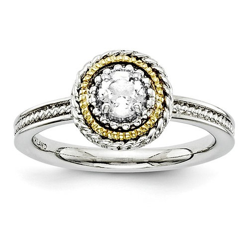 Sterling Silver And 14k Stackable Expressions White Topaz Ring