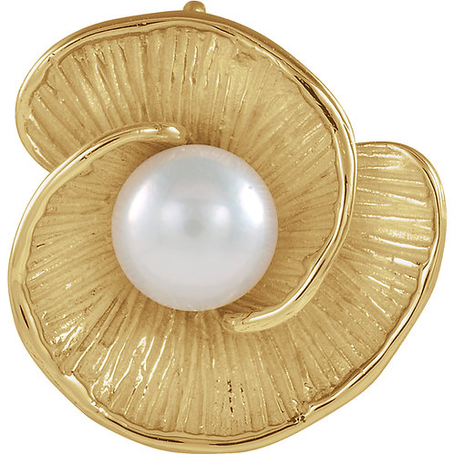 14K Yellow White Freshwater Cultured Pearl Pedant