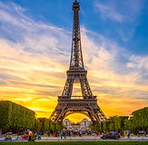 Paris Eiffel Tower and Champ de Mars in