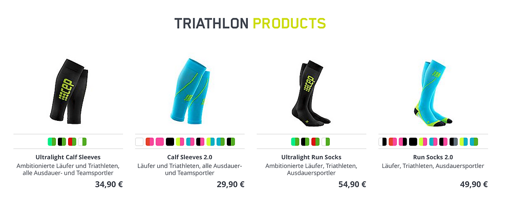 CEP - Triathlon Produkte