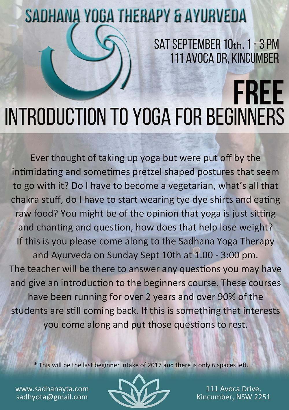 introduction to yoga with a free class on sept 10th 1-2