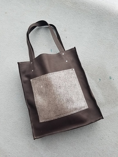 Brown or Black Leather tote with 1 Pocket