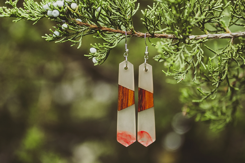 Mulan Resin Jewelry, Resin, Resin Earrings, Wooden Earrings