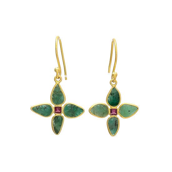 Emerald & Pink Tourmaline Drop Earrings