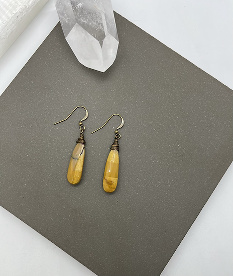 Gemstone earrings, mookite on bronze