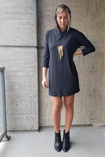 Washed Black Hoodie Dress