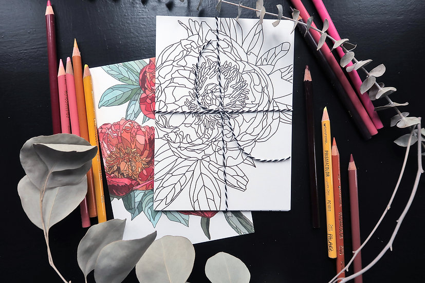 Peony coloring pages, Art by Kate Wyatt