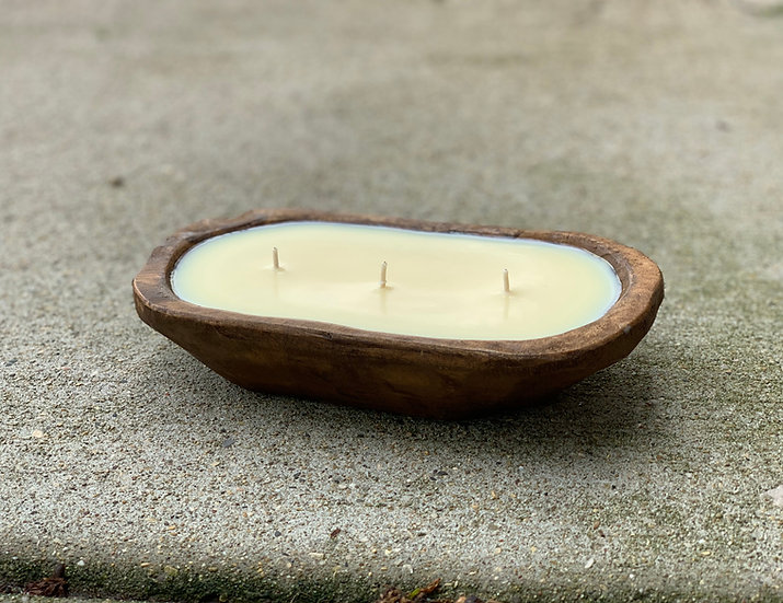 Rustic bowl 3-wick candle