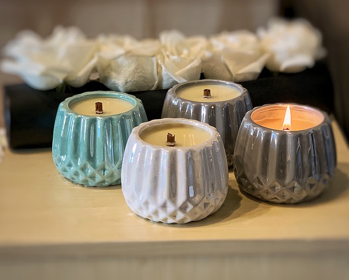 Iridescent Jar Candles w/ Round Wooden Wick