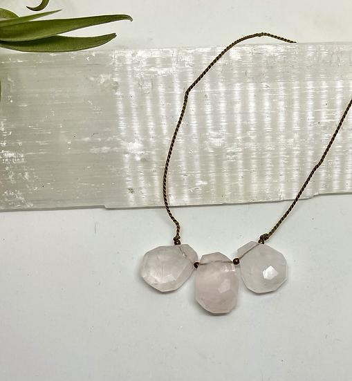 Gemstone Necklace, Rose quartz on silk cord adjustable necklace