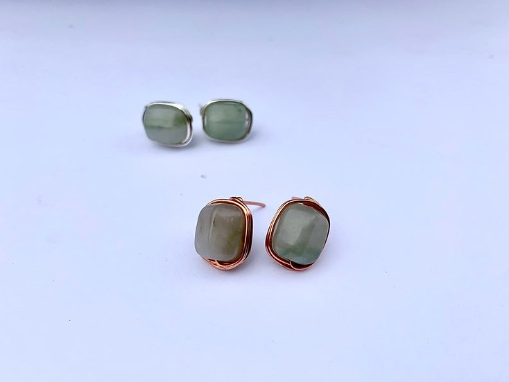 Round Wire Wrapped Gemstone Studs