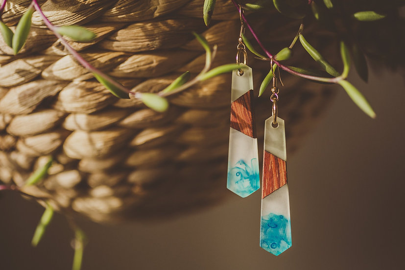 Blue Swirl Resin Jewelry, Resin, Resin Earrings, Wooden Earrings