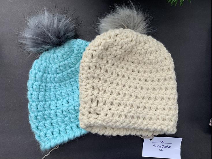 Crochet beanie hats & pom hats