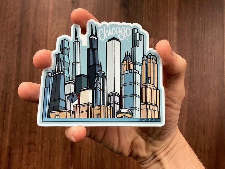 Chicago Stickers, water resistant sticker, original artwork
