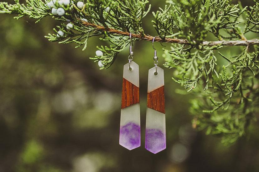 Purple Rain Resin Jewelry, Resin, Resin Earrings, Wooden Earrings