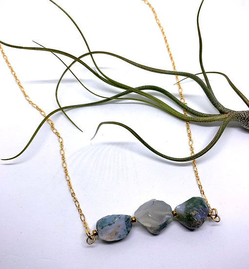 Gemstone Necklace, Moss agate necklace