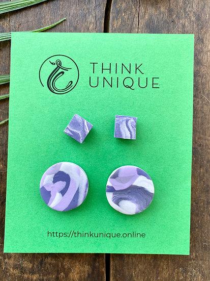 """Purple Swirl"" Stud earrings pack"