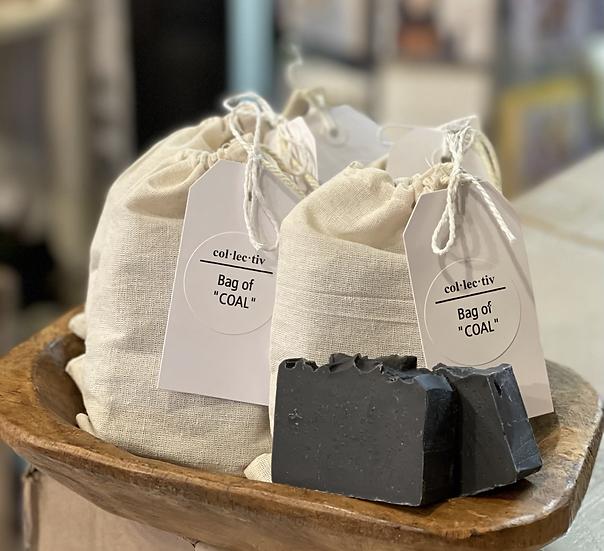 """""""Bag of coal""""  (pair of charcoal mini soaps)"""