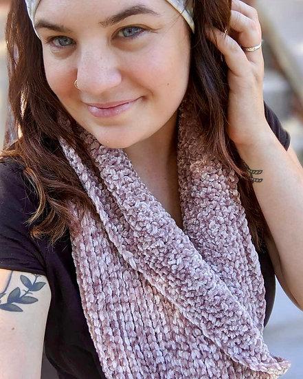 Crochet velvet cowl scarf