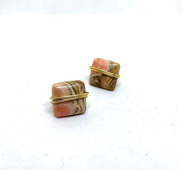 Pink agate stud earrings, gold, geometric, neutral, brown, pink