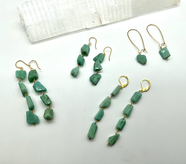 Gemstone Earrings, Amazonite drop earrings & necklace