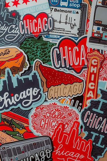 Chicago Stickers, water resistant sticker, original artwork