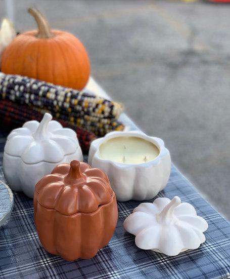 Sleepy Hollow Pumpkin Chai candle in ceramic pumpkin
