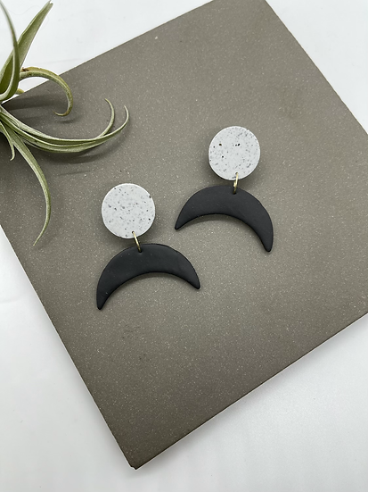 Polymer clay Earrings, moon
