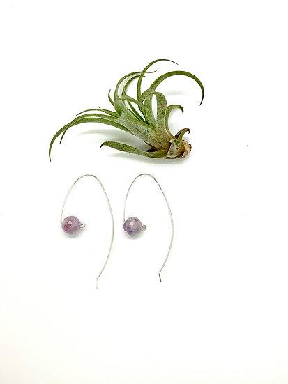 Lavender amethyst sterling silver earrings