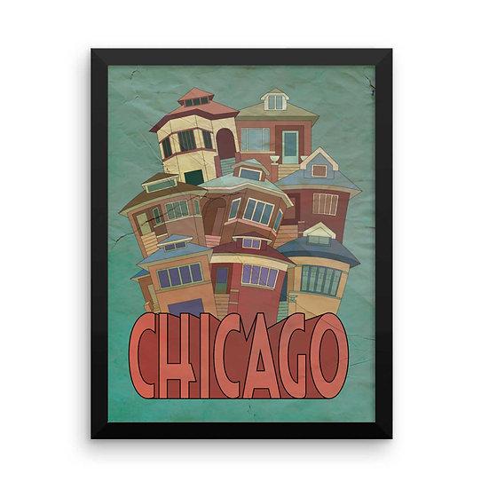 Chicago bungalows art print