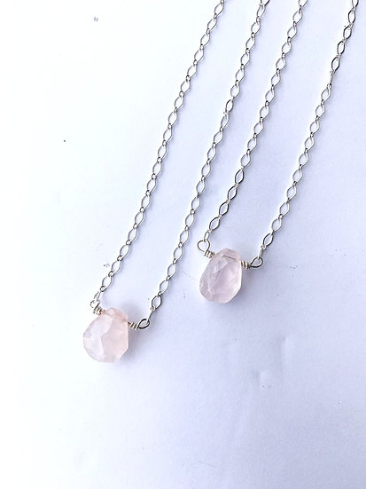 Gemstone Necklace, Rose quartz necklace
