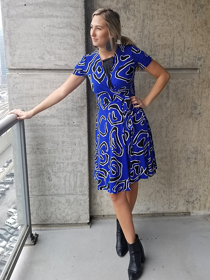 Blue and Black Abstract Print Wrap Dress