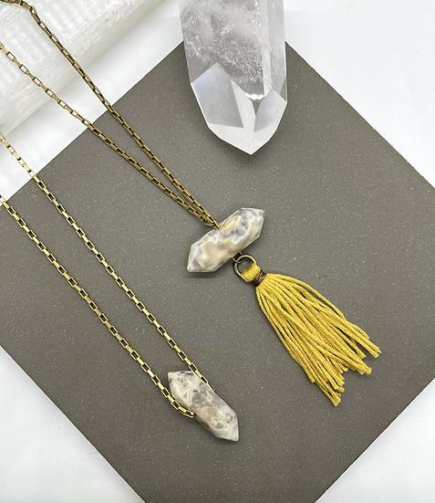 Gemstone Necklace, quartz point necklace
