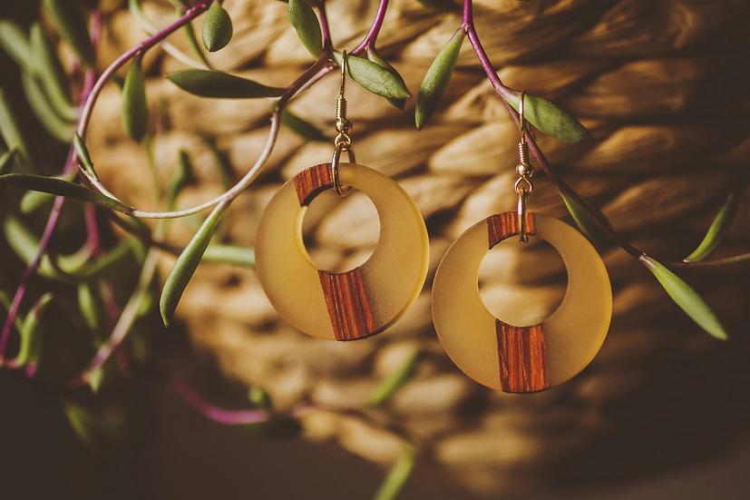 Yellow Daisy Resin Jewelry, Resin, Resin Earrings, Wooden Earrings