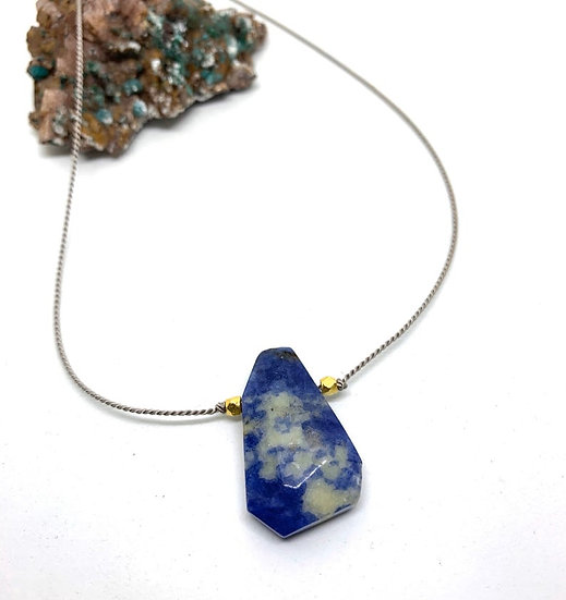 Gemstone Necklace, Lapis on silk cord adjustable necklace