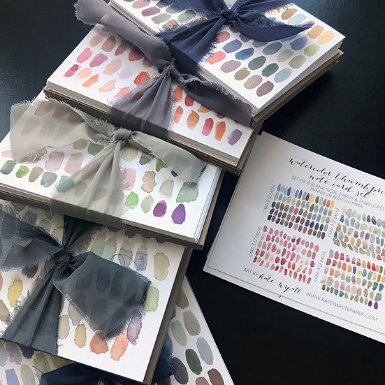 Watercolor thumbprint notecards by artist Kate Wyatt