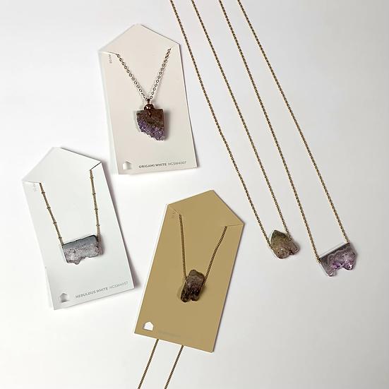 Gemstone Necklace, Amethyst slice necklace