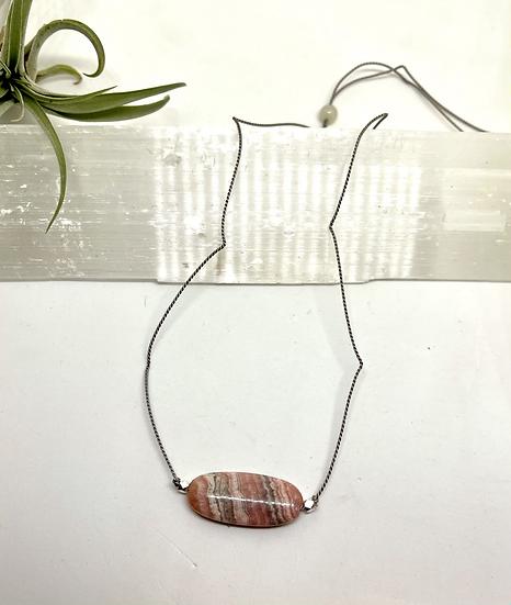 Gemstone Necklace, rhodochrosite on silk cord adjustable necklace